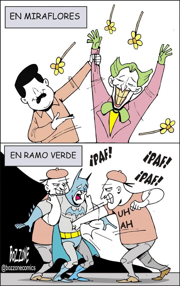 En Miraflores ayudan a malechores. En ramo verde maltratan heroes - Bozzone Comics